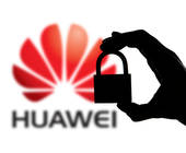Huawei-Logo mit Vorhängeschloss im Vordergrund