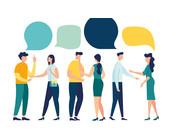 Grafik: Menschen führen Gespräche