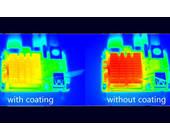 Aufwärmung ohne (rechts) und mit MOF-Beschichtung