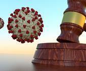 Gerichtshammer mit Corona-Virus