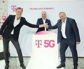 5G Boost: Michael Hagspihl, Dirk Wössner und Walter Goldenits stellen die größte 5G-Initiative für Deutschland vor.