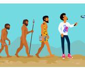 Evolution von Affe zu Mann mit Selfiestick