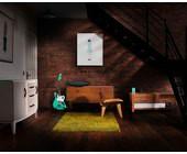 Zimmer mit Gitarre und Lautsprecher