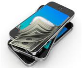 Smartphones mit Geldscheinen