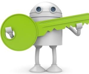 Android-Roboter mit Schlüssel in der Hand